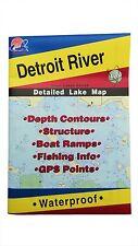Detroit River Detailed Lake Map, GPS Points, Waterproof, Depth Contours #L131
