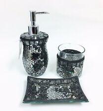 EDMA LUXE 3 PC SET BLACK,GRAY GLASS MIRROR MOSAIC DISPENSER+TUMBLER+SOAP DISH