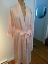 Vtg Barbizon pink wrap bathrobe belted 3/4 sleeves lace/ tucks long Lovely!
