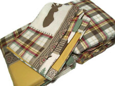 Cuddl Duds Heavyweight Patchwork Lodge Moose Plaid Flannel Twin Sheet Set New