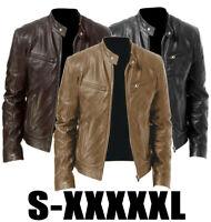 Men's Leather Jackets Zipper Slim Fit Biker Motorcycle Coat Overcoat Outwear CE