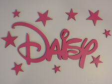 Personalised Wooden Name Plaques Letters DISNEY Style for wall/door/bedroom PINK