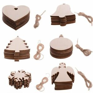 Wooden Home Craft Hanging Bauble Blank Shapes Christmas Snowflakes Tree Decor UK