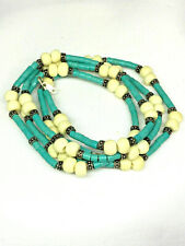 Turquoise and Bone Bead Sterling Silver Clasp Necklace