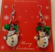 Snowman & Bells Christmas Earrings
