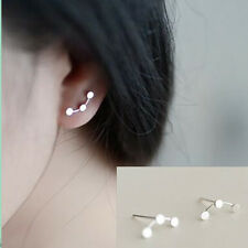 925 Silver Plated Fashion Chic 3-Dots Lady Party All_match Stud Earrings Jewelry