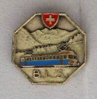 Vintage BLS train badge, Switzerland, 28.5 mm. light metal and enamel.