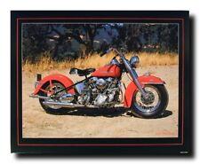 1954 Red Panhead Harley Davidson Vintage Motorcycle Bike Wall Art Print (16x20)