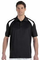 Harriton Men's Three Button Placket Polyester Short Sleeve Polo Shirt Tee. M318