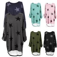 Women Summer Loose Shirt Dress Star Printed Dresses Baggy Tunic Jumper Plus Size