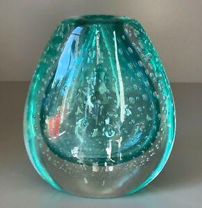 Murano hand-blown Incalmo submerged Vase with Bubbles, by Maurizio Toso Borrella