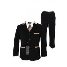 Boys Black Formal Corduroy Wedding Party Communion Pageboy 5 Piece Suit