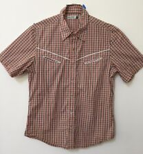 Paul Frank Mens Short Sleeve SHIRT Plaid Western Style Pearl Snap Helicop Button