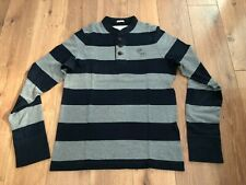 Abercrombie and Fitch Men's Grey and Navy Stripe Henley Heritage Grandad Jumper