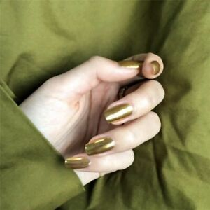 Punk Metal Gold Mirror False Artificial Nail Tips Press on Nail Manicure Tool
