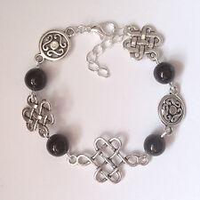 Celtic Knot Charm Black Agate Bead Bracelet in Gift Bag