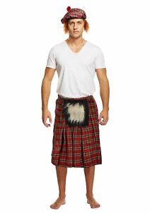 Mens Fancy Dress Up Outfit Scottish Kilt Braveheart Hat Sporran Costume Adult