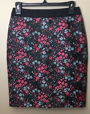 Boden Women's  Size 4 Black Floral Straight Pencil Skirt Pink Aqua Lined