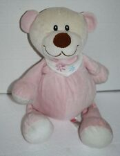 "SUGAR LOAF PINK TEDDY BEAR 14"" RATTLE FLOWER BIB PLUSH STUFFED SOFT TOY LOVEY"