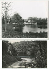 AMERICANA VINTAGE SILVER PRINT COUNTRY HOME ON LAKE + ROAD, SET OF 2 PHOTOS