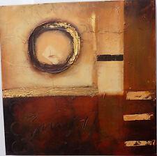 Quadro astratto ad olio materico cm 50x50 rosso brunito industrial moderno  n 2