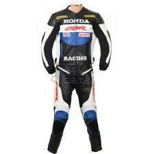 Tute in pelle e altri tessuti blu con protezioni rimovibili per motociclista