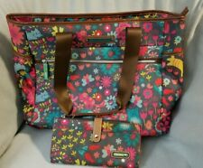 SET 2 Lily Bloom Travel Tote Wallet Playful Garden Cats Luggage Overnight Bag