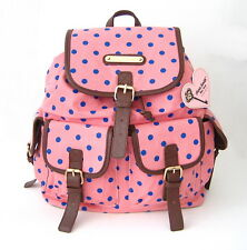 NWT Anna Smith Retro Polka Dots Spot LYDC Ladies Backpack Peach/Brown