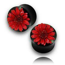 """Pair (14Mm) 9/16"""" Inch Ebony Wood Plugs With Red Leather Flower Plug Tunnels"""