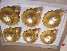 6 x Vintage Gold Jewelled Christmas Festive Handmade Glass Baubles