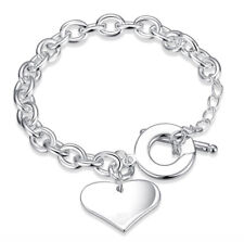 Silver Plated Big Heart Chunky Charm Bracelet