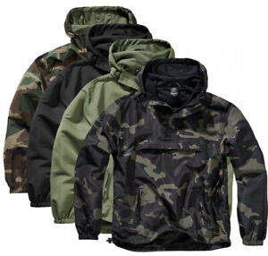 Brandit Men's Rain Jacket Windbreaker Pullover between-Seasons Hooded