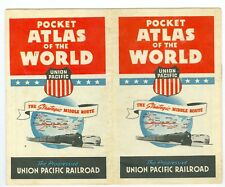 1940's Union Pacific Railroad Pocket Atlas of the World, 13 Maps, 14 Pages