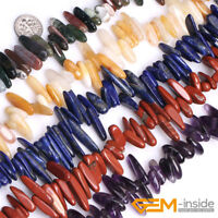 """Wholesale Lot Assorted Stones Spike Points Stick Beads For Jewelry Making 15"""" YB"""