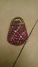 PrettyPink handbag Brooch Diamante Rhinestone Crystal Pin