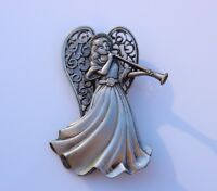 BROOCH , angel with trumpet, marked JJ