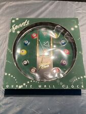 Sports Billiards Clock Quartz Movement Battery Operated Wall Clock New in Box