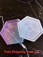 New Shiny Hexagon Accessory Tray Silicone Mold - Resin, Epoxy - Ship from US