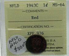 Newfoundland 1943 C Cent ICCS MS 64 RED