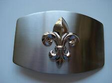 Fleur De Lis Belt Buckle Silver Logo Vintage