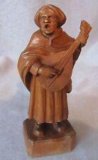 Figur Musiker Sänger Laute Gitarre Mittelalter Holz holzfigur geschnitzt antik