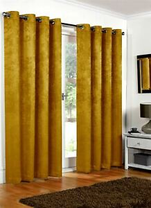 Luxury Ochre Yellow Embossed Thermal Blackout Eyelet Ring Top Lined Curtain Pair