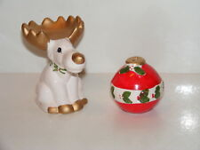 Reindeer & Ornamwnt Salt And Pepper Shakers Christmas Stackable 2pc Set 1995