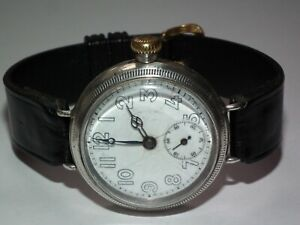 Tavannes 1914 Silver Military Officers Trench Watch 36mm Screw Back / Front