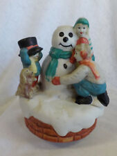 Frosty The Snowman Vintage Musical Wind Up Ceramic Frosty Family & Dog 1970's