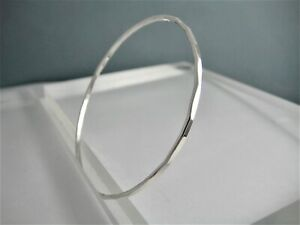 Hand Forged 2mm Sterling Silver Hammered Facted Round Stacking Bangle S•M•L•XL