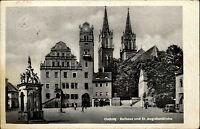 Oschatz DDR s/w AK 1961 Partie vor dem Rathaus und  St. Aegidienkirche Brunnen