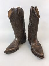 Vtg Loblan 37 UK4 Brown Leather Ankle Pull On Cowboy Western Bobo Hippies Boots