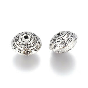 10x Tibetan Alloy Bicone Metal Beads Carved Loose Spacer Nickel Free Silver 12mm