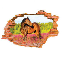 AL_ Cool 3D Horse Broken Effect Wall Stickers Decal Home DIY Room Decor Novelty